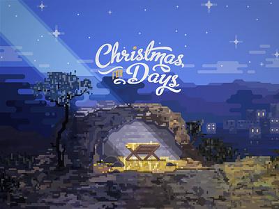 Christmas stars angles wisemen joseph mary town snow winter city jesus baby bethlehem manger typography church illustrator design identity branding brand