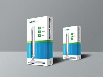 Led Lamp Packaging Design technology design energy green blue simple light bulb led mockup packaging