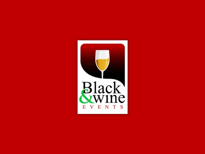 Logo Proposal for Black & Wine Events event party design simple typography green yellow red wine logo