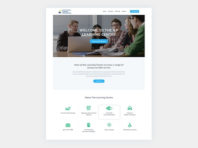 Ilp Landing Page desig events download blue simple call to action table icons contact lead white landing page