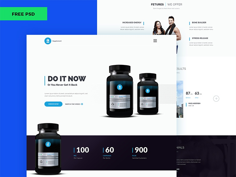 Free Adele Product Landing Page Weight Loss Supplement Ingredients Ui Template