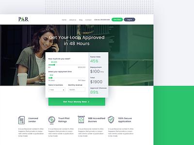 Small Loan video testimonial ux ui green security chat form finance calculator bank loan