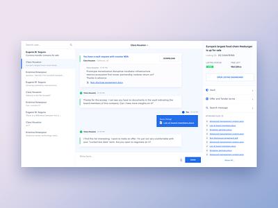 Messenger ux bank deal product design request job task app ui attachments attachment files communication messenger app chat messenger ux web design simple blue ui
