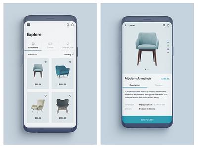 Furniture app design price cart sofa chair ecommerce app ecommerce furniture app furniture icon vector illustration ux blue design ui