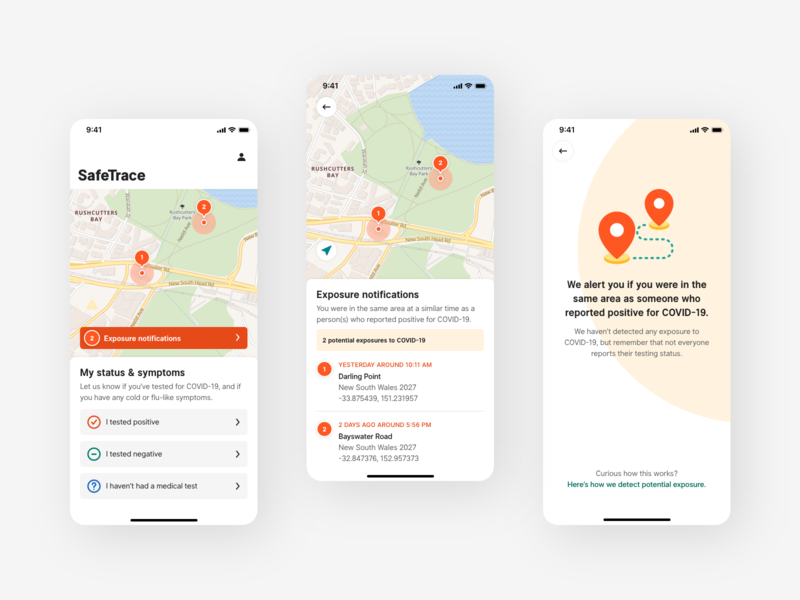 COVID contact tracing app high-fidelity visual design notification mapping location map ios mobile app contact tracing coronavirus covid