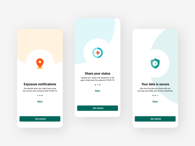 COVID contact tracing app on-boarding screens