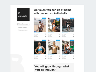 Instagram kettlebell workouts black and white visual design workout app dumbbell kettlebell library instagram curation curated exercise workout