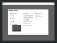 Keyboard Shortcuts Panel