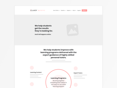 Cluey Homepage (Wireframe)