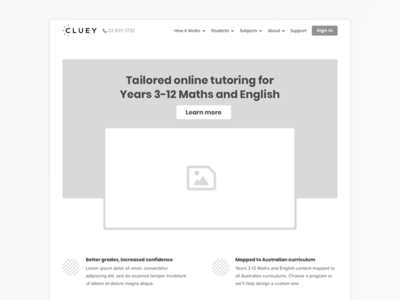 Cluey Landing Page Concept acquisition landing page wireframe learning education