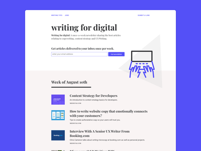 Writing For Digital - Website Concept website uxwriting purple one-page newsletter email copywriting content