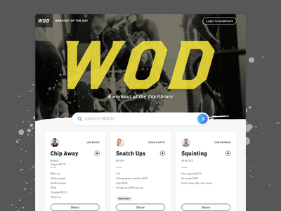 Website Concept: Workout Of The Day (WOD) Library sketch homepage design visual design card layout card splatter yellow dark fitness fit hiit exercise workouts wod