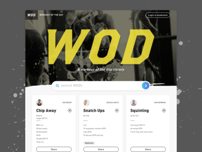 Website Concept: Workout Of The Day (WOD) Library