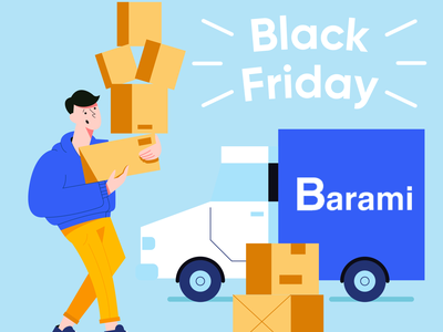 package delivery black friday package car delivery freight banner illustration