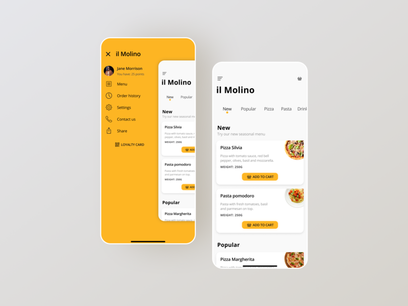il Molino Redesign italian food delivery food redesign ui design mobile ux ui design app