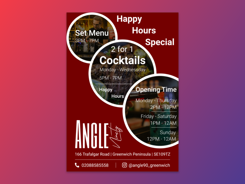 Flyer for Angle Bar and Restaurant restaurant branding restaurant app restaurant illustrator identity concept design branding brand happy hour banner flyer design flyer bar