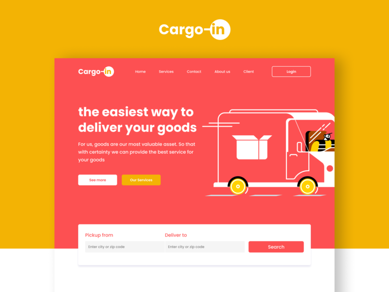 Cargo-in | Logistic website header flat logistics company header website logistic illustration uiuxdesign ui design