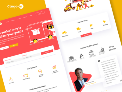 Cargo-in | Homepage logistic website illustration yellow red website header landing page services page review header logistic website web designer web design agency web design uiuxdesign ui design