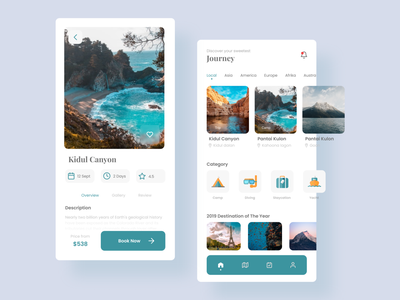 Travel Service App - Mobile App Concept ui design ui uiux design vacation holiday traveling green canyon nature travel app travel concept app mobile app mobile