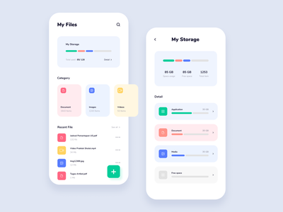 Manajer-in File Manager Mobile App Design Concept mobile mobile ui mobile uiux app design uiux ui design file file manager folder folder manager memory storage chart chart clean colorful memory usage usage storage