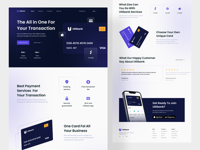 Ultibank - Digital Banking Landing Page product page homepage finance fintech financial banking footer testimoni call to action mockup credit card features gradient header uiuxdesign ui design website landing page online banking digital banking