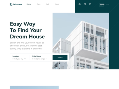 Brixhome - Real Estate Landing Page property agent homepage real estate agent services product banner footer ui design hero header minimalist clean website landing page buy rent sell home property real estate