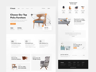 Mebli - Furniture Store Landing Page ui design hero section furniture shop footer subscribtion mail list promotion banner testimoni category categories shop product features header website landing page furniture store store furniture
