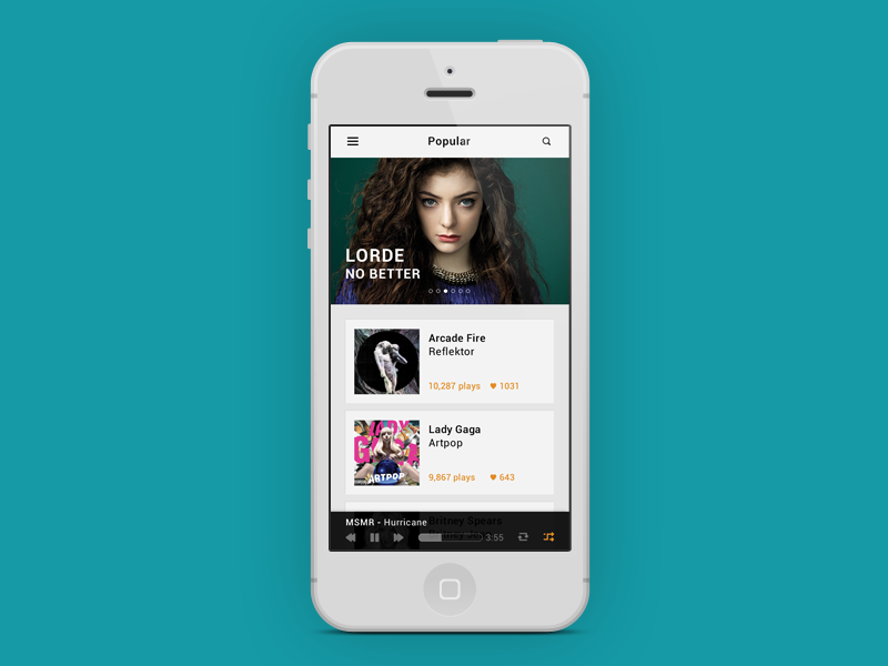 Music UI music ui music app music player iphone app lorde