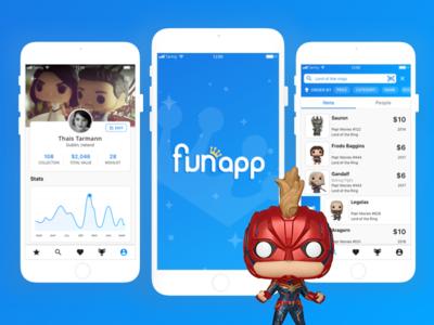 Meet FunApp - Your pocket collection iphone8 iphone social design app flat blue interface studycase ux ui  ux design ui poppriceguide stashpedia funko funapp
