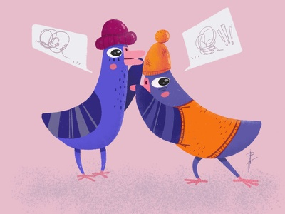 Gossip free time birds web gossip dove design animation character design procreate photoshop illustration
