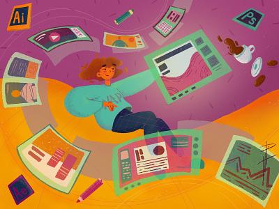 Learning free time web skills challenge education education app learning character design procreate design illustration