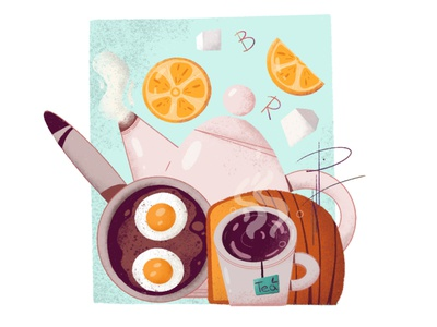 Breakfast breakfast food illustration animation design free time photoshop procreate illustration