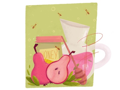Spring Drink home party pear honeybee honey party cook spring drink free time design animation photoshop procreate illustration