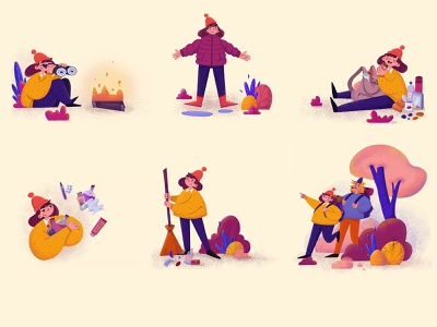 Camping tips for beginners country site forest nature birds camping website character design design animation procreate illustration