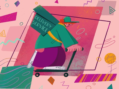 Delivery Boy delivery service character design animation procreate illustration
