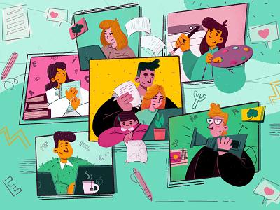 Team online education education teamwork team website design character design photoshop animation procreate illustration