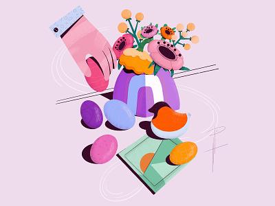 Easter food illustration stilllife holidays illustration design branding flat web procreate illustration