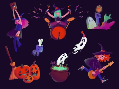 Characters for Halloween website design photoshop character design procreate animation illustration