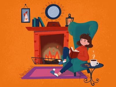 Fireplace reading free time fireplace photoshop design character design procreate animation illustration