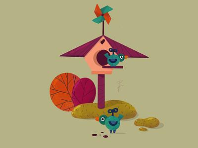 Birds birds character design flat design photoshop procreate animation illustration