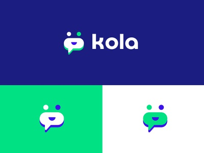 Logo kola blue green logodesign logo chat chat app colorful logotype vector illustration logo branding chatbot chatlogo chat
