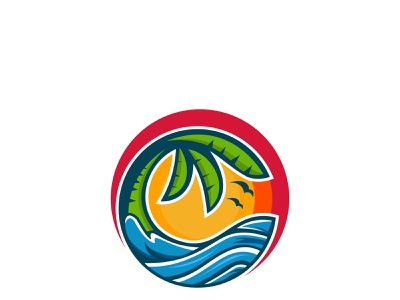 Logo Beach sunset sunrise beach vector minimalist modern clean branding illustration logotype logo design company brand identity