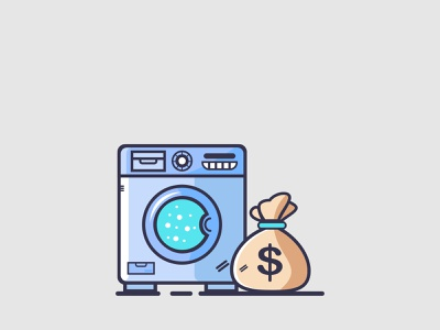 Logo Design Washing Machine And Money laundry washing machine minimalist modern clean business illustration logotype logo design brand identity company money machine washing