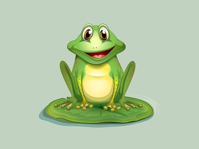 Happy Frog sitting on lotus leaf water amphibian lotus cartoon green leaf vector illustration animal pond nature frog