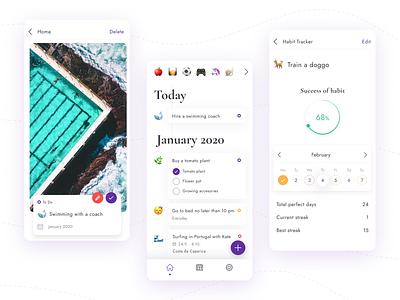 Self CEO event design tracking app exercise ritual calendar goals to do habits habit tacker mobile app mobile ux ui