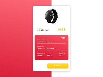 Daily UI #02 credit card red ios interface ux ui checkout dailyui challenge 02 002