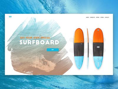 Daily UI #03 dailyui challenge landing website watercolor ux ui surfboard surf interface 03 003