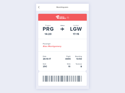 Daily UI #24 app ux ui ticket airlines interface flight boarding dailyui challenge 24 024