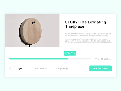 Daily UI #32 - Crowdfunding Campaign product stats ux ui campaign crowdfunding landing interface dailyui challenge 32 032