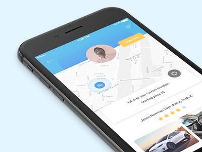 Daily UI #06 - Profile 006 06 interface taxi car ui ux tesla mobile blue challenge dailyui